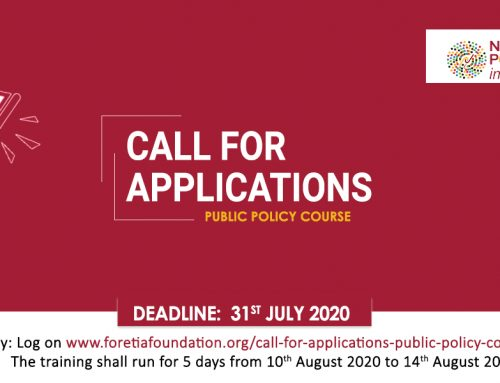 Call For Applications – Public Policy Course (2020)