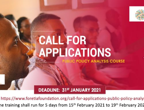 Call For Applications – Public Policy Analysis Course (2021)